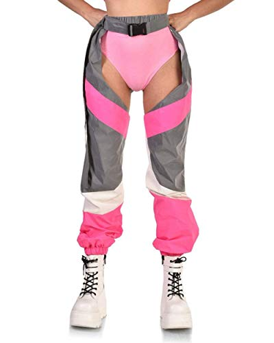 8af1996502e92 iHeartRaves Now U See Me Reflective Chaps (Neon Pink, Small)