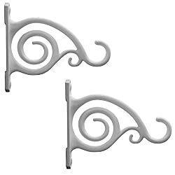 GrayBunny GB-6837 Fancy Curved Hook, Set of 2, White, Cast Iron Wall Hooks For Bird Feeders, Planters, Lanterns, Wind Chimes, As Wall Brackets and More!