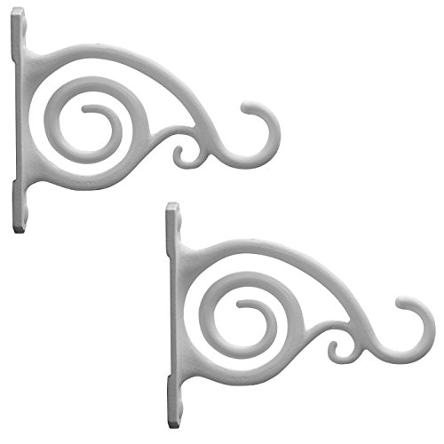 GrayBunny GB-6837 Fancy Curved Hook, Set of 2, White, Cast Iron Wall Hooks For Bird Feeders, Planters, Lanterns, Wind Chimes, As Wall Brackets and More! (Furniture Bedroom White Iron Wrought)