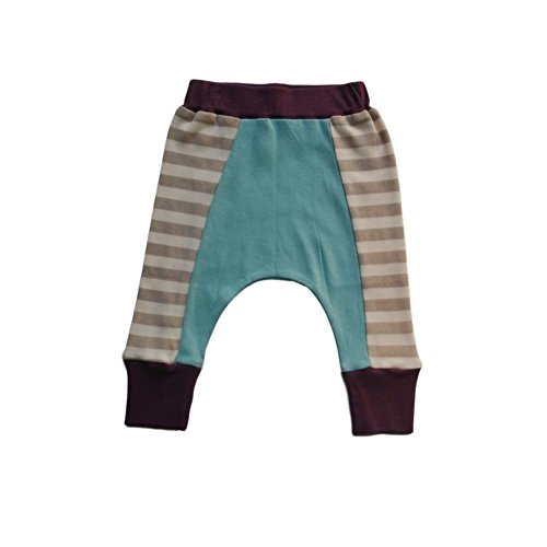 Cat & Dogma - Certified Organic Infant/Baby Clothes Eggplant/Aqua Harem Pants (18-24 Months)