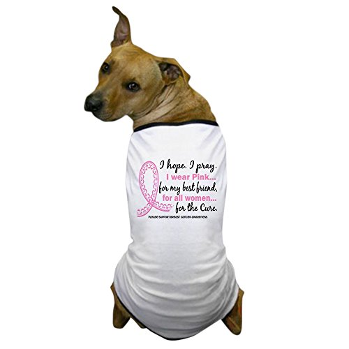 CafePress - Hope Pray Wear Pink Breast Cancer Dog T-Shirt - Dog T-Shirt, Pet Clothing, Funny Dog Costume -