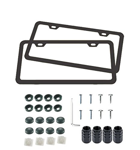 License Plate Frames - Automotive Aluminum Tag holders 2 hole kit, 2pcs Black Licenses Plates Frames with Screw Caps and Tire Stem Caps, Place on Any Car or Vehicle Fits All US License