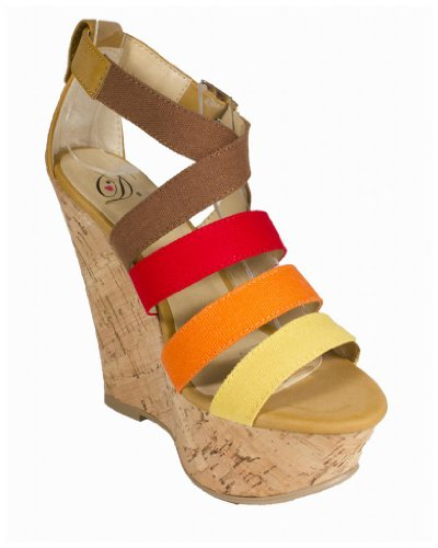 Pulito! Da Deliziosi Sandali Zeppa In Sughero Con Zeppa A Piattaforma Stravagante Con Fibbia Regolabile Alla Caviglia In Cinturini Multicolore In Cotone Rosso