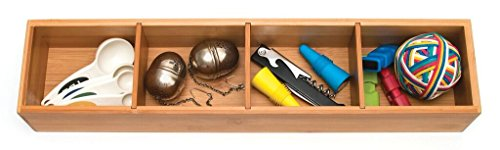 Lipper International 8884 Bamboo Drawer Organizer with 3 Removable Dividers, Brown