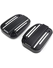Three T Black 2pcs Motorcycle Grooved Front Brake Master Cylinder Fluid Reservoir Cover Cap Fit for Harley Touring Street Road Glide Road King 2007-2012
