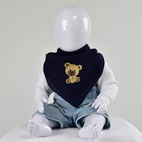 Nuschel Burp Cloth & Bib - Navy with ''Boy Teddy'' Embroidery Design (Teddy Embroidery Design)