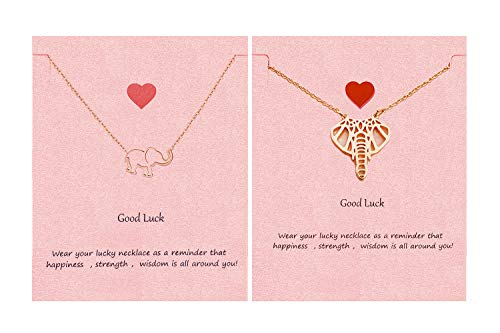 (Your Always Charm Geometric Origami Elephant Necklace,Lucky Elephant Friendship Gifts with Message Card (G:2 Rose Gold) )