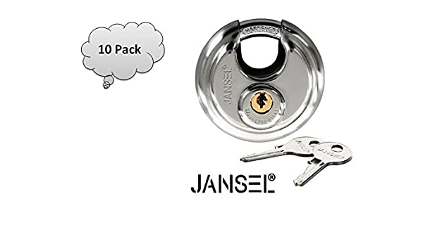 Amazon.com: JANSEL – 70mm Disc Padlock Keyed Alike, Discus Padlocks Keyed Alike 70mm Round Disc Padlock with Shielded Shackle, 2-3/4-inch, Stainless Steel ...