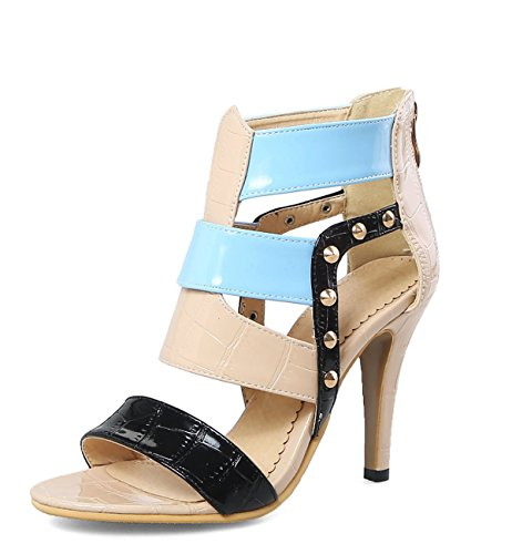 Scarpe Beige Colour 34 Fashion Rivet donna 46 Roman Tacchi Sandali Taglia Sexy da alti TwTqp