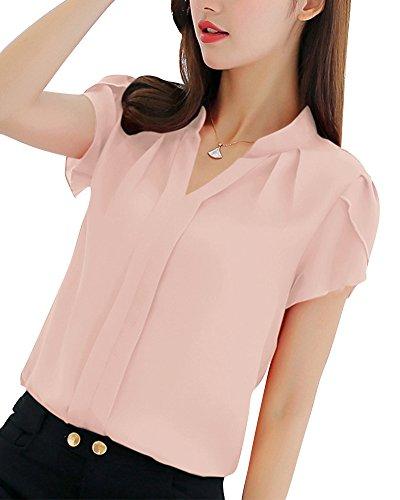 Casuale Pink Shirt Camicia T Ufficio PengGeng Elegante Tinta Donne Corta OL Camicetta Unita Manica O7q5wZ
