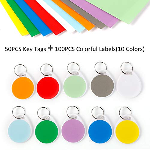 InterUS Round Key Tags with Split Ring,Colorful Label,50 Pack Label Tags and 100 PCS Label Paper ()