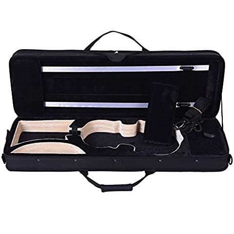 ADM Violin Case Full Size 4/4 Square Lightweight Beginner Violin Hard Case with Strap, Black (Violin Size 1 2 Oxford)