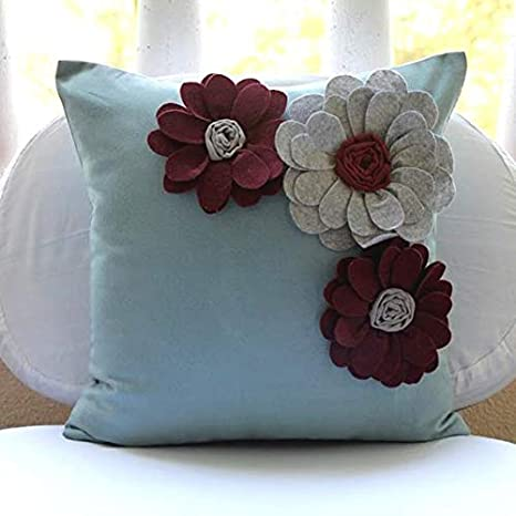 Amazon.com: Designer Light Blue Throw Pillows Cover, Felt ...