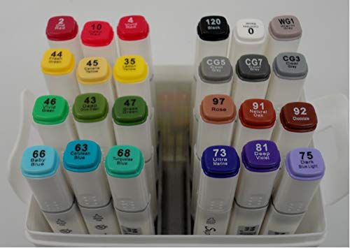 - Tundras Superior Artist Professional Blend Alcohol Markers Coloring System, Box 1; Basic Set of 24 Markers Created to Blend Together to Maximize Shades & Tones; Scrapbooking, Drawing, Sketching, etc.