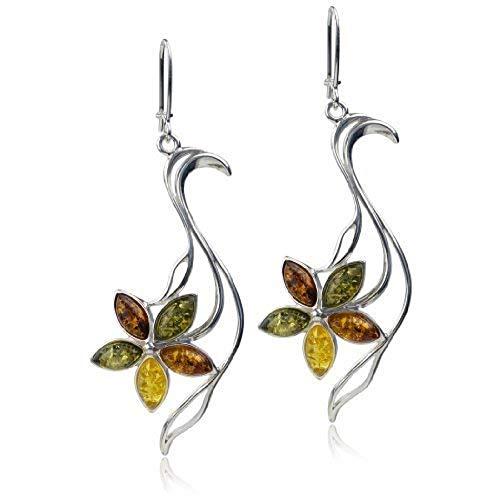 Sterling Silver Multicolor Amber Flower Dangle Earwire ()