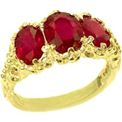 14k Yellow Gold Natural Ruby Womens Trilogy Ring - Sizes 4 to 12 Available