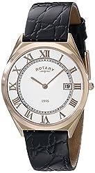 Rotary Men's gs08003/01 Analog Display Swiss Quartz Black Watch