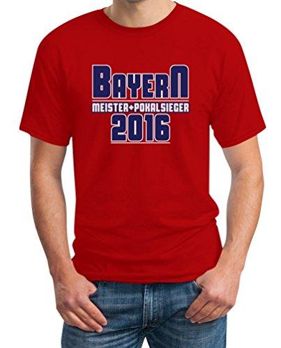 Bayern Meister und Pokalsieger 2016 Fanshirt T-Shirt X-Large Rot