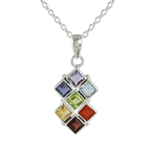 NOVICA Multi-Gem Amethyst .925 Sterling Silver Pendant Necklace, 17.75