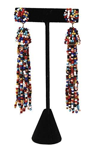 Trend 36 Beaded Tassel Earring Dangle Statement (Rainbow)