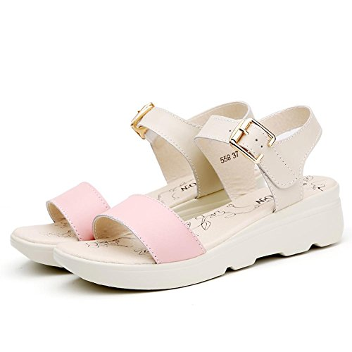 Bottom With Comfortable Slope Shoes Wild Leather Pink L Summer Thick Flat 2017 YC Sandals Women wqBWX8CR
