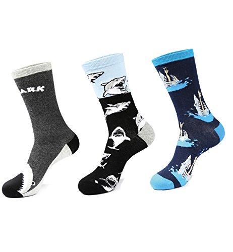 Zmart 3 Pack Men's Colorful Animal Funny Shark Novelty Crew Socks Size 8-13
