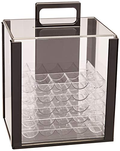 (Acrylic Poker Chip Carrier (Holds 1000 Chips) with Chip Trays | Premium Professional Travel Case for Holding Casino Chips | Collector's Chip Organizer for Transport and Storage)