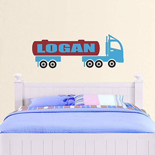 CECILIAPATER Personalized Big Rig Boys Wall Decal - Custom Name Vinyl Mural - Tractor, Trailer, Tanker, Diesel - Kids ()