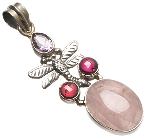 Rose Quartz Dragon (StarGems(tm) Natural Rose Quartz and Dragonfly Handmade Mexican 925 Sterling Silver Pendant 2