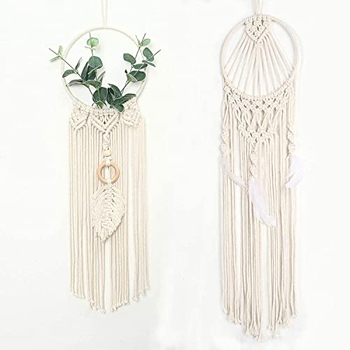 2 Piece Dream Catchers, Wall Hanging Handmade Bohemian Dreamcatchers with White Feather Pendant for Girls Child Bedroom Wedding Ornament Fantasy Tassel Craft Gift