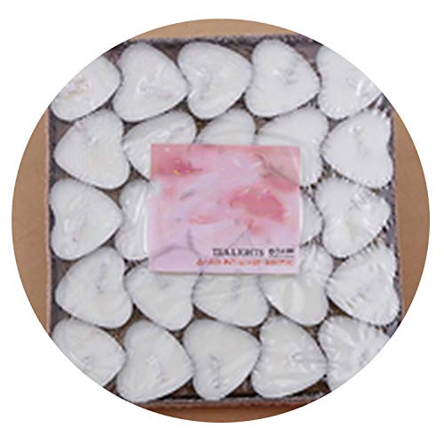 50Pcs/Set Romantic Decorative Small Heart Shaped Candles Smokeless Candles,White