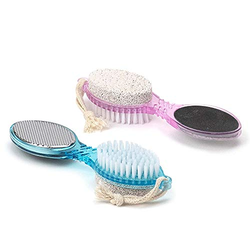 DecorRack 4 in 1 Pedicure Paddle Kit Tool with Pumice Stone for Feet, Foot Hand Toe Nail Cleaning Brush, Metal File and Emery Board, Manicure Pedicure Foot Rasp Callus Corn -