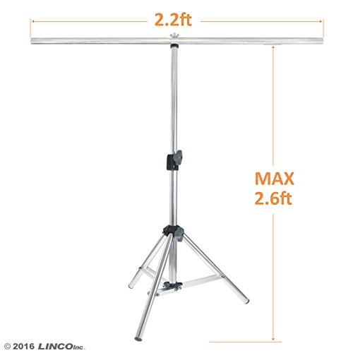 Linco Lincostore Photography PVC Backdrop Background Small Support Stand System Metal 2.2ft Wide 2.6ft High 3322