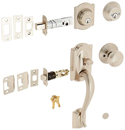 Schlage F62-CAM-PLY Double Cylinder Handleset with Plymouth Interior Knob from t, Satin Nickel