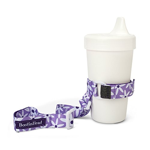 BooginHead Baby SippiGrip Sippy Cup, Bottle Holder, High Chair, Car Seat, Universal Strap, Purple Daisy, Girl, Floral, Flowers, Purple and White