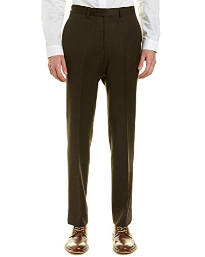 Wool Zip Fly Trousers (Brooks Brothers Mens Regent Fit Flannel Wool Trouser, 34/32, Brown)