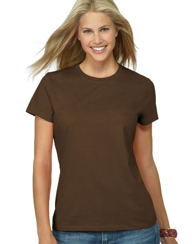 (Hanes Silver Ladies' Classic Fit Ringspun Cotton Jersey Tee in Dark Chocolate - X-Large)