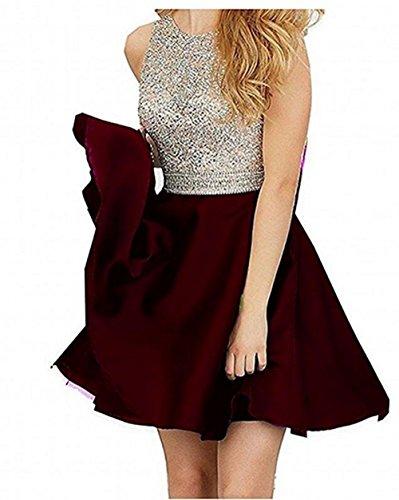 TANGFUTI Beading Short Prom Dresses Open Back Satin Homecoming Dresses 107BG-US2
