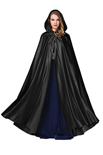 Women's Wedding Hooded Cape Bridal Cloak Poncho Full Length Black