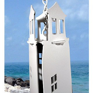 Sentinel Lighthouse Steel Wind Bell with Blue Crab Wind Catcher -