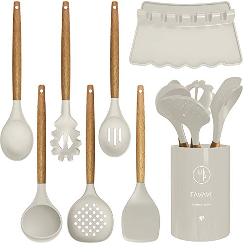 Silicone Cooking Utensils – Kitchen Utensil Set with Holder.Slotted/Solid Spoon,Turner,Spatula,Pasta server,Deep Soup…