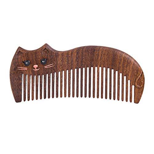 (Anti-Static Wood Shaped Kitty Cat Comb)