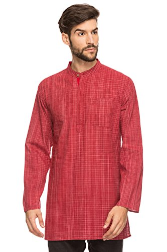 Shatranj Men's Indian Mandarin Collar Mid-Length Tunic Kurta Space-Dye Checks; Red; XL by Shatranj