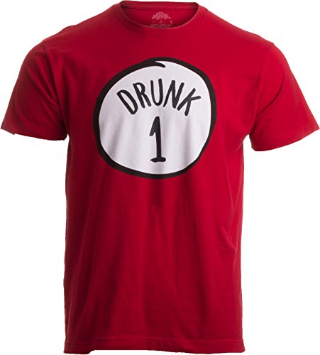 Drunk 1 | Funny Drinking Team, Group Halloween Costume Unisex T-Shirt-Adult, S Red ()