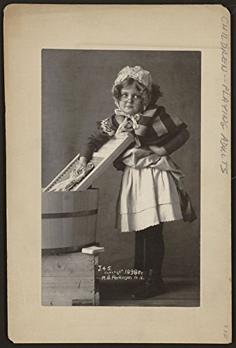 Girl wearing eyeglasses, bonnet and apron, with washboard and - Websites Eyeglass Frame