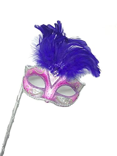 Mysterious Mardi Gras Masquerade Mask with Purple Feather & Stick (Purple Masquerade Dresses)