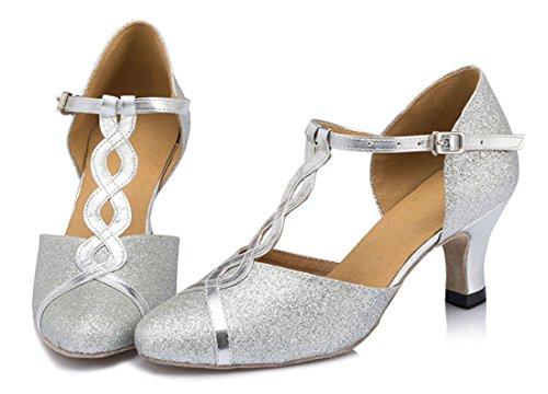 Tda Womens Tacco Medio T-strap Glitter Sintetico Salsa Tango Da Ballo Latino Moderno Scarpe Da Ballo Da Ballo In Argento