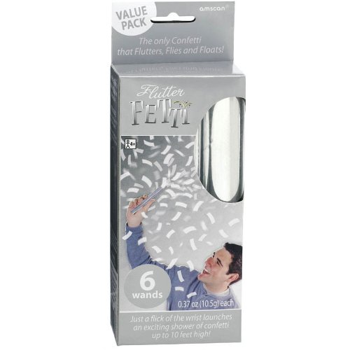 Amscan Fun-Filled Flutter Fetti Wands Party Supplies, Silver, Paper, 6