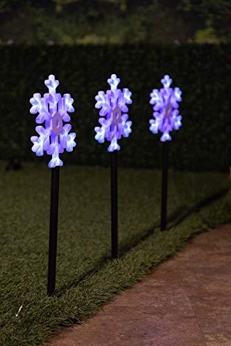 Alpine SBE134-3 LED Snowflake Flashing Garden Stakes (Set