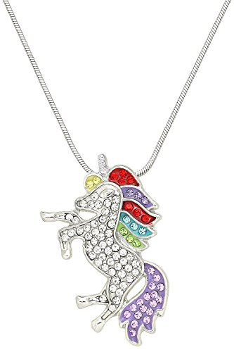 Falari Unicorn Pendant Necklace Rhinestone Crystal Rhodium High Polished J0132 ()
